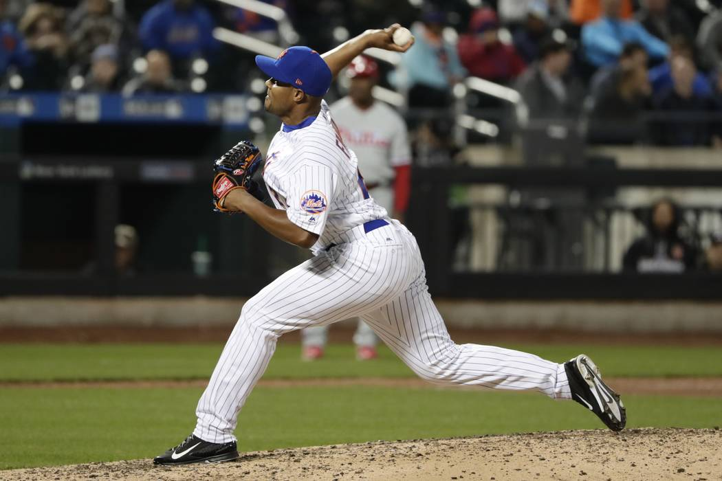 New York Mets' Jeurys Familia delivers a pitch during the ninth inning of a baseball game against the Philadelphia Phillies Thursday, April 20, 2017, in New York. (AP Photo/Frank Franklin II)