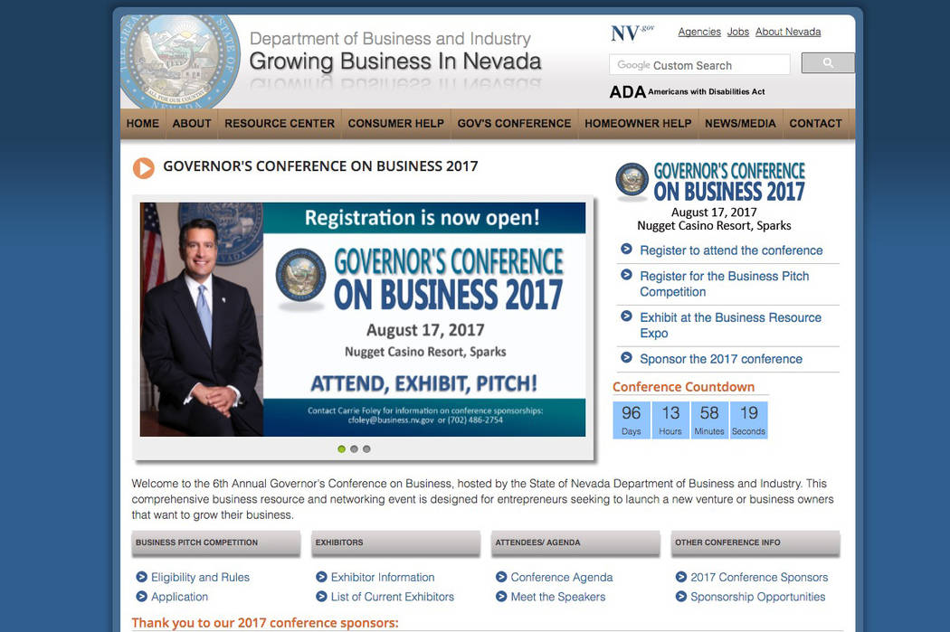 Entrepreneurs have until June 26 to apply to a state business pitch competition held during the annual Governor's Conference on Business networking event. (Screengrab/http://business.nv.gov/GCB/ ...