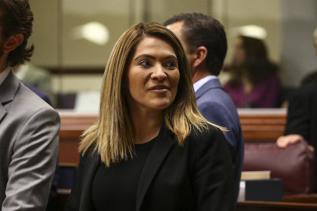 Nevada Assemblywoman Sandra Jauregui, D-Las Vegas, before Nevada Gov. Brian Sandoval's final State of the State address at the Legislative Building in Carson City on Tuesday, Jan. 17, 2017. Chase  ...