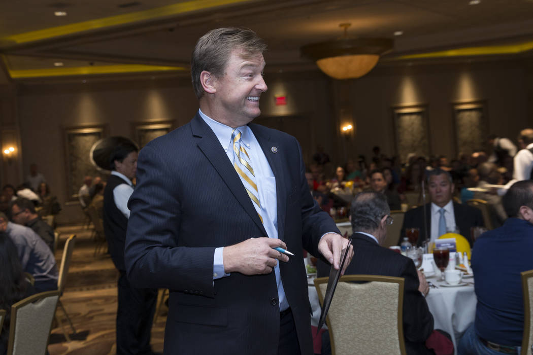 U.S. Sen. Dean Heller, R-Nev., during the Latin Chamber of Commerce monthly luncheon to discuss infrastructure projects at the Suncoast casino-hotel on Friday, May 12, 2017 in Las Vegas. Erik Verd ...