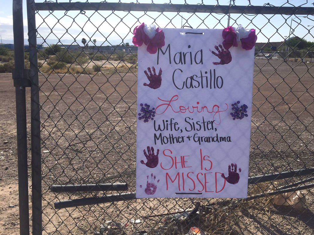 A memorial was set up  for Maria Castillo near the intersection of Nellis Boulevard and Carey Avenue in Las Vegas, Sunday, May 7, 2017. Castillo was killed after her car collided with a school bus ...