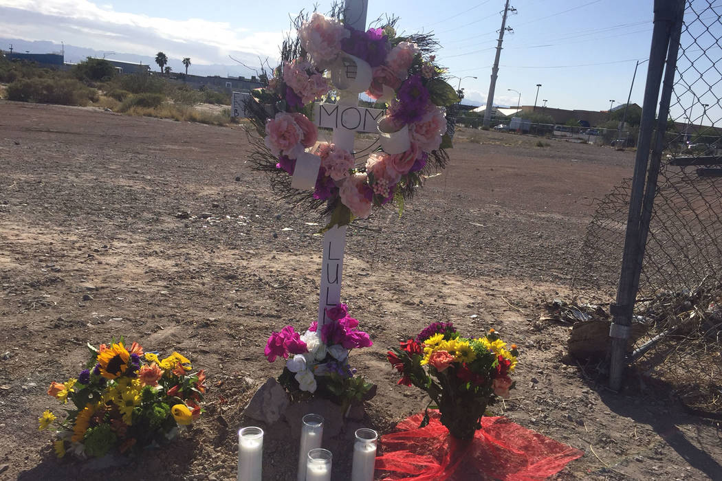 A memorial was set up  for Maria Castillo near the intersection of Nellis Boulevard and Carey Avenue in Las Vegas, Sunday, May 7, 2017. Castillo, a 70-year-old woman, was killed after her car coll ...