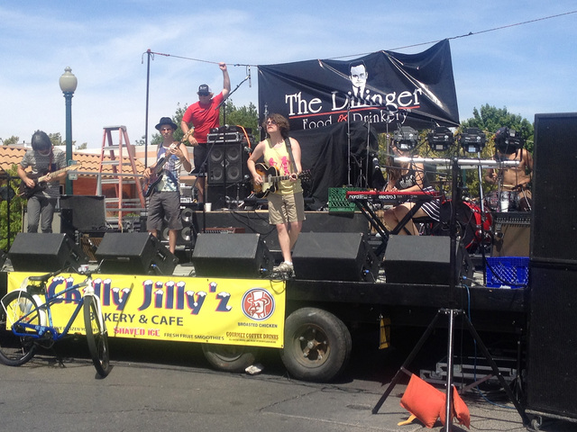 Steven Slivka/Boulder City Review Same Sex Mary performs at The Dillinger's third-annual Block Party on Arizona Street Saturday afternoon. Those who attended the outdoor party ate food, some drank ...