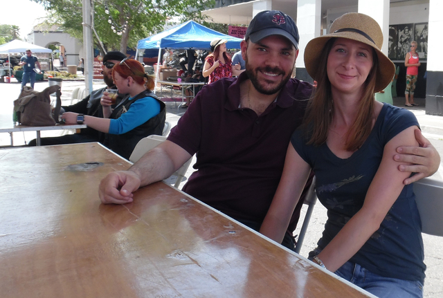 Daryn Firicano and Melissa Farnsworth of Las Vegas read about The Dillinger's fifth annual Block Party and saw a perfect chance to get out of Las Vegas on Saturday. Hunter Terry/Boulder City Review