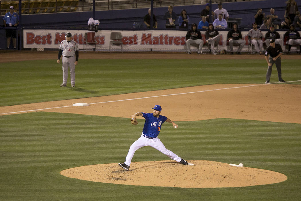 51s pitcher Adam Wilk (33) pitches to Albuquerque in the fourth during a game at Cashman Field on Thursday, April 27, 2017, in Las Vegas. Bridget Bennett/Las Vegas Review-Journal @bridgetkbennett