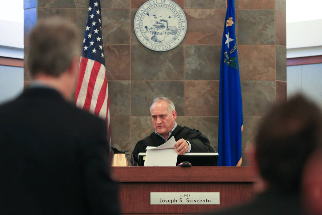 Judge Joseph S. Sciscento during a bail hearing at the Regional Justice Center in Las Vegas on Friday, May 12, 2017. Beach's bail was set at $350,000. Brett Le Blanc Las Vegas Review-Journal @bleb ...