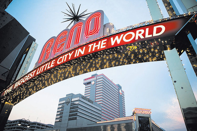 The classic neon Reno sign welcomes visitors to downtown Reno.  Max Whittaker/Reuters