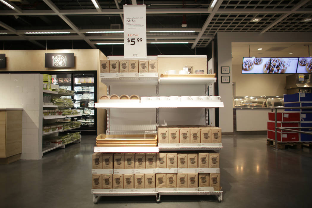 The Swedish food section on Monday, May 15, 2017, at Ikea in Las Vegas. The one year anniversary of Ikea is Thursday. Ikea has added birch wood to this section, as well as more home items next to  ...