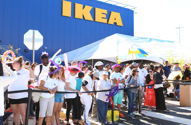 People wait in line outside Nevada's first IKEA store to wait for its grand opening on Wednesday, May 18, 2016. (Bizuayehu Tesfaye/Las Vegas Review-Journal) @bizutesfaye