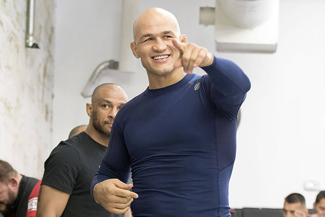 UFC heavyweight Junior dos Santos points at fans during the UFC 211 open workouts at the Mohler MMA gym in Dallas, Texas, on Thursday, May 11, 2017. Heidi Fang/Las Vegas Review-Journal @HeidiFang