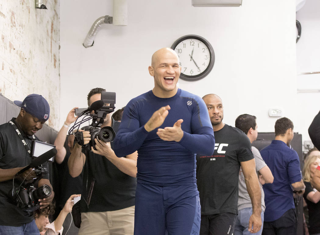UFC heavyweight Junior dos Santos reacts to fans chanting his name during the UFC 211 open workouts at the Mohler MMA gym in Dallas, Texas, on Thursday, May 11, 2017. Heidi Fang/Las Vegas Review-J ...