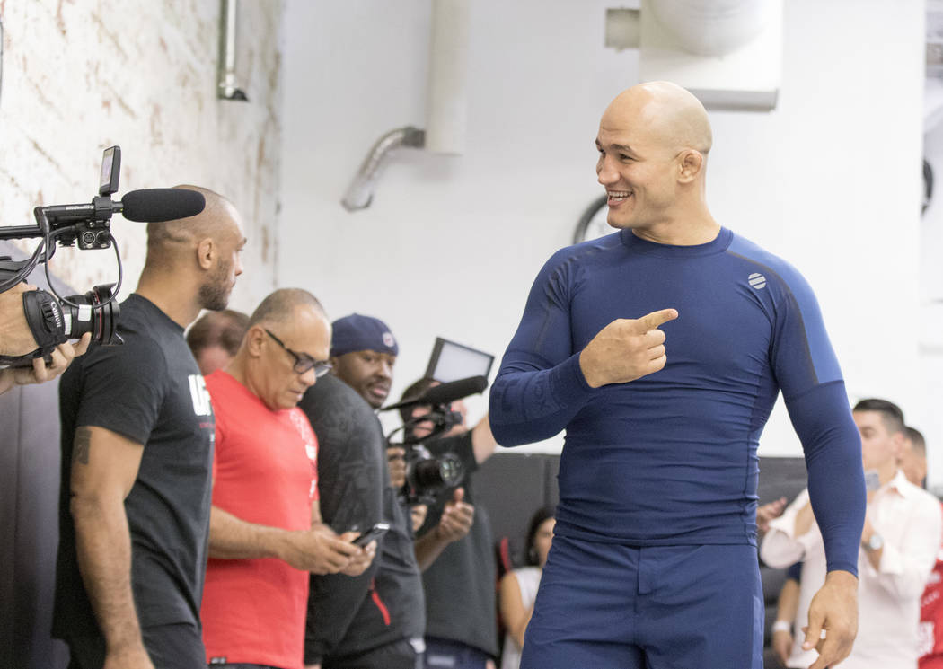 UFC heavyweight Junior dos Santos talks to a camera crew during the UFC 211 open workouts at the Mohler MMA gym in Dallas, Texas, on Thursday, May 11, 2017. Heidi Fang/Las Vegas Review-Journal @He ...