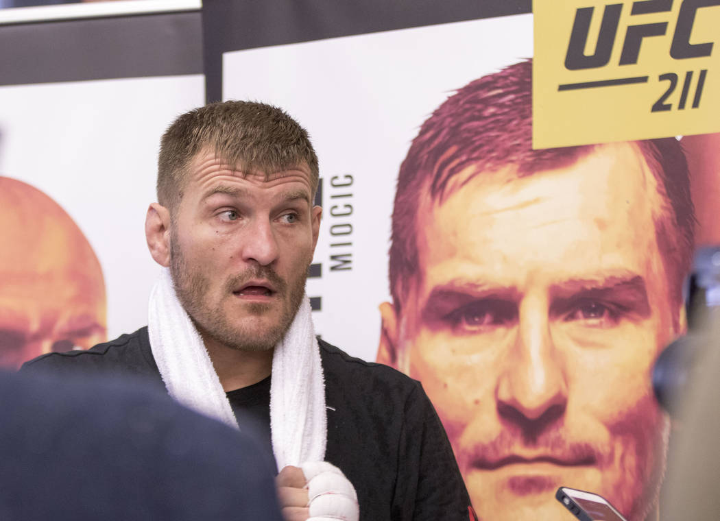 UFC heavyweight champion Stipe Miocic reacts to a reporter's question during the UFC 211 open workouts at the Mohler MMA gym in Dallas, Texas, on Thursday, May 11, 2017. Heidi Fang/Las Vegas Revie ...