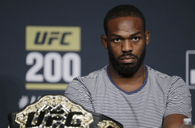 Jon Jones attends a UFC 200 mixed martial arts news conference, Wednesday, July 6, 2016, in Las Vegas. Jones is scheduled to fight Daniel Cormier in a light heavyweight championship fight at UFC 2 ...