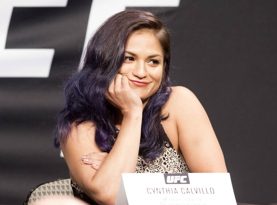 UFC strawweight Cynthia Calvillo at the UFC summer kickoff press conference at the American Airlines Center in Dallas, Texas, on May 12, 2017. Heidi Fang/Las Vegas Review-Journal @HeidiFang