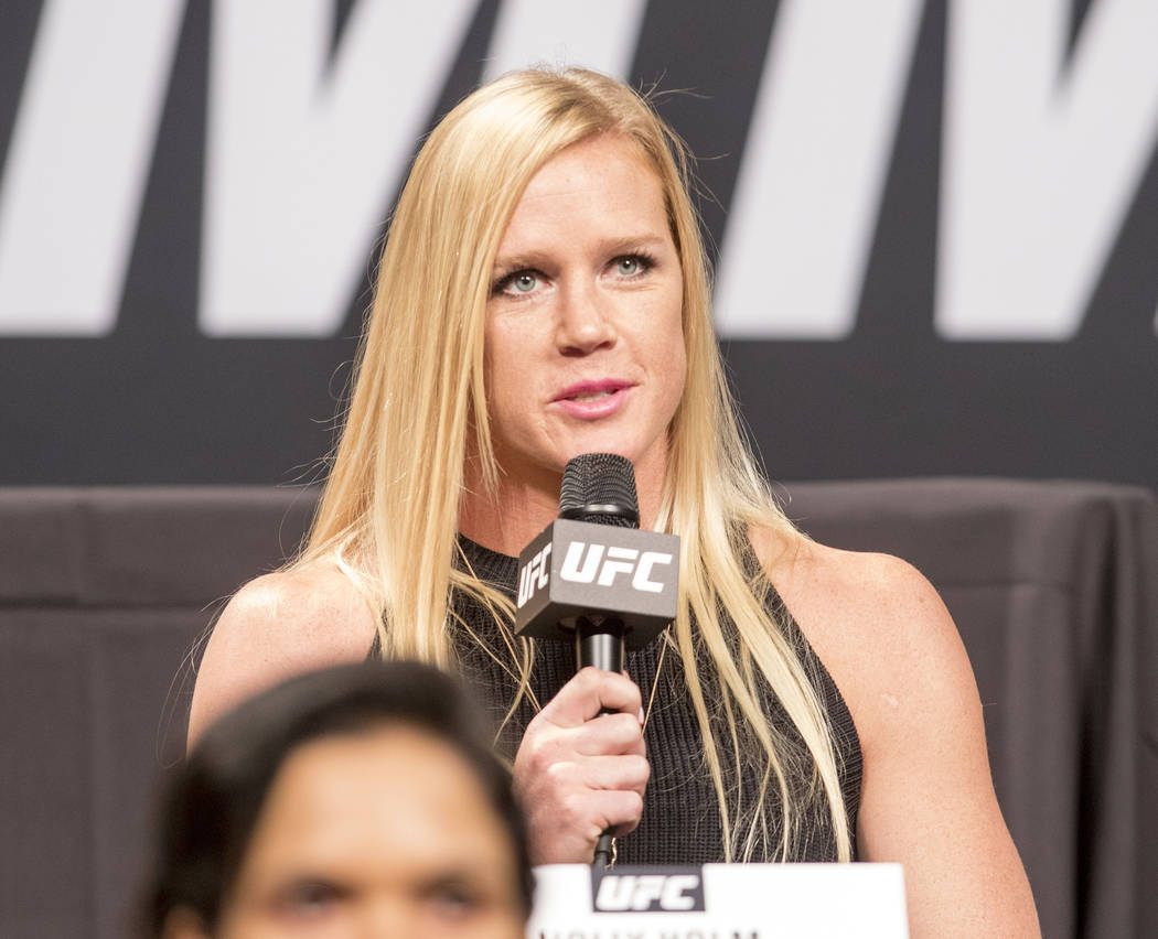 UFC women's bantamweight Holly Holm answers a question at the UFC summer kickoff press conference at the American Airlines Center in Dallas, Texas, on May 12, 2017. Heidi Fang/Las Vegas Review-Jou ...