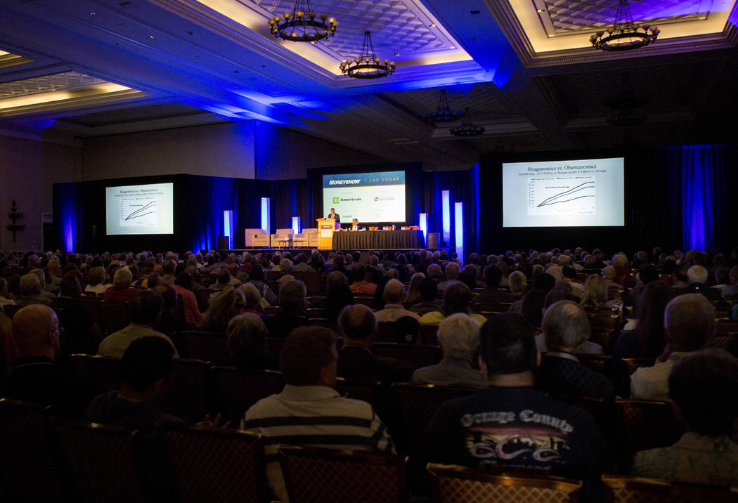 "Economic policy analyst Stephen Moore presents about ""How America Can Get Its Economic Mojo Back"" at the MoneyShow at Caesars Palace in Las Vegas on Monday, May 15, 2017. Patrick ..."