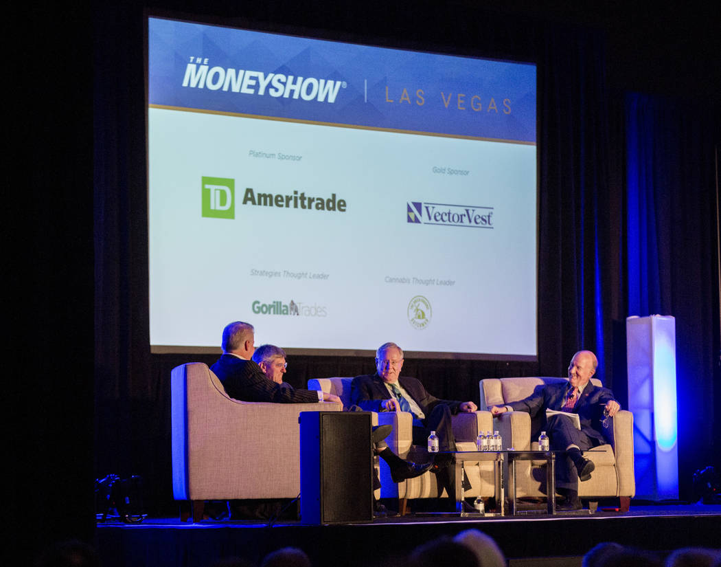 Economists Wayne Root, from left, Stephen Moore, Steve Forbes and Mark Skousen participate in a panel discussion during the MoneyShow at Caesars Palace in Las Vegas on Monday, May 15, 2017. Patric ...