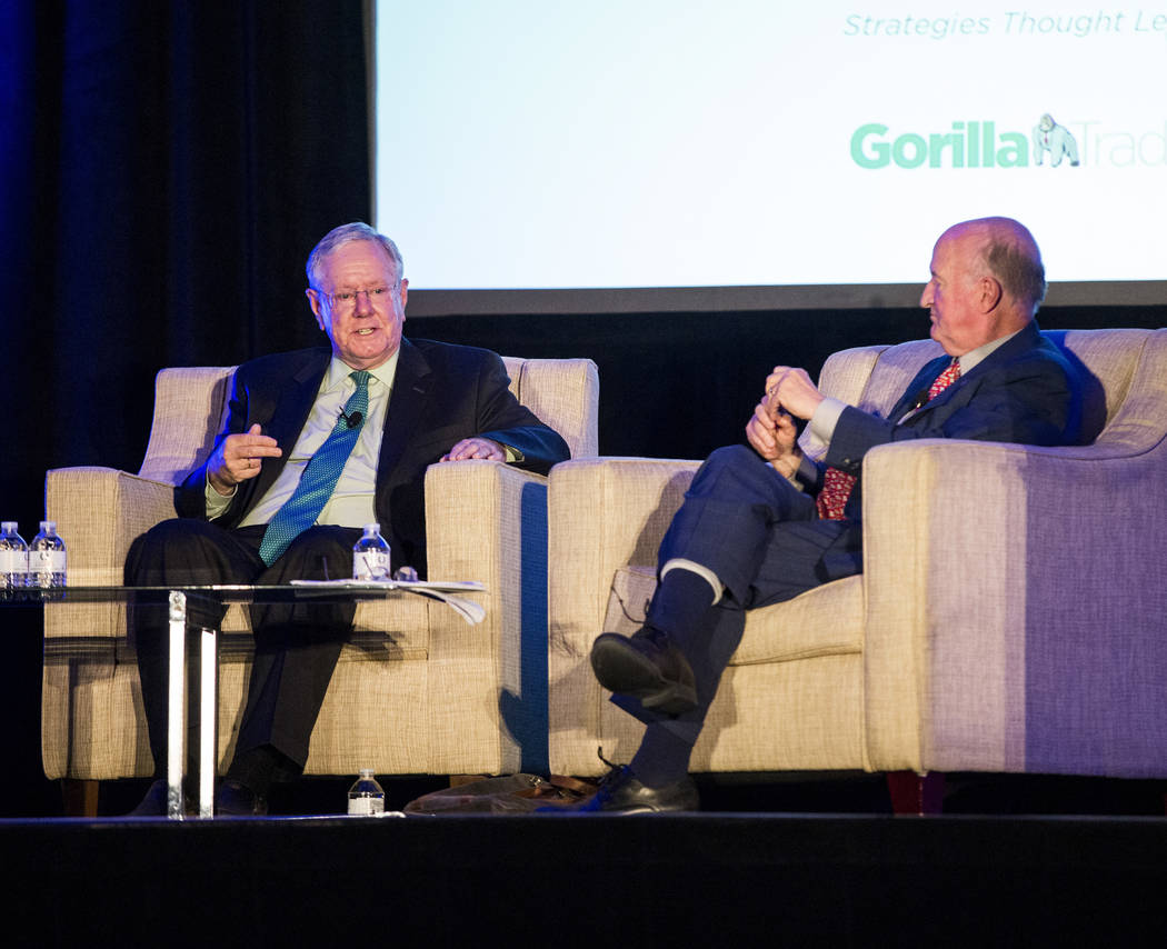 Publisher Steve Forbes, left, speaks during a panel discussion as a part of the MoneyShow at Caesars Palace in Las Vegas on Monday, May 15, 2017. Patrick Connolly Las Vegas Review-Journal @PConnPie