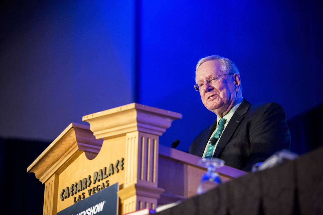 "Steve Forbes speaks about ""What Should Trump Do Now for a Great Economy?"" at the MoneyShow at Caesars Palace in Las Vegas on Monday, May 15, 2017. Patrick Connolly Las Vegas Revi ..."