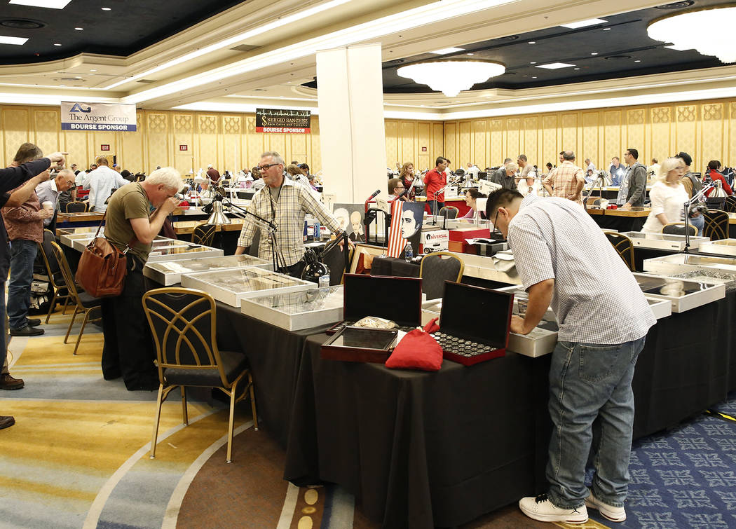 Prospective buyers at the the 54th Annual Las Vegas Numismatic Society Coin Show at Westgate hotel-casino on Thursday, May 18, 2017, in Las Vegas. Bizuayehu Tesfaye Las Vegas Review-Journal @bizut ...