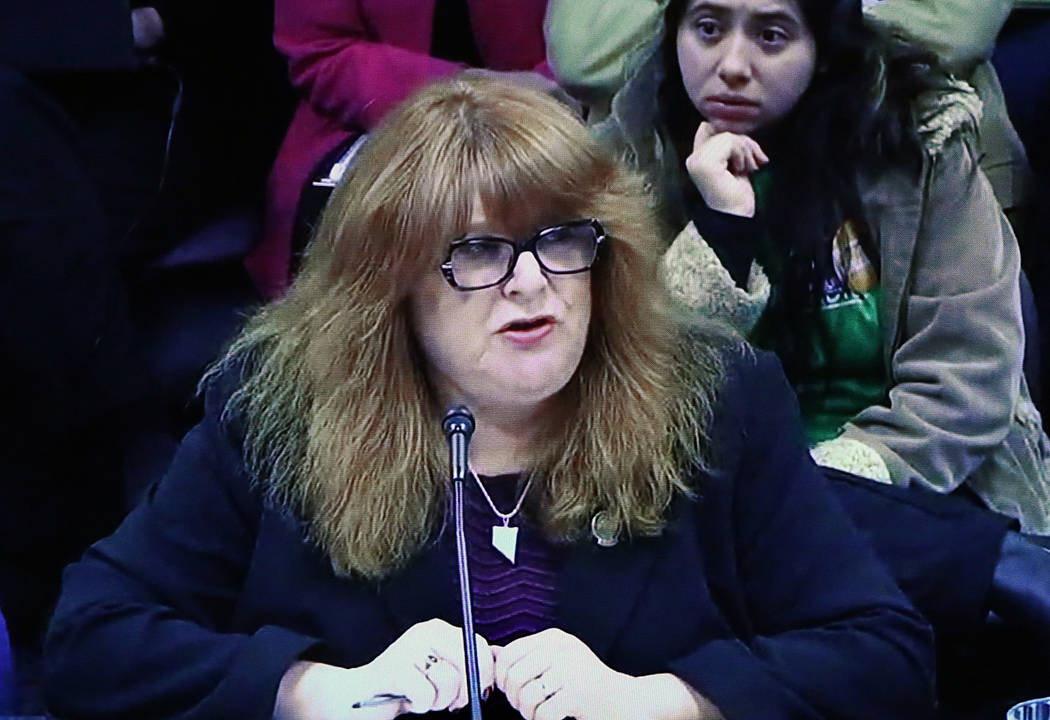 Assemblywoman Ellen Spiegel testifies from Carson City via satellite video in support of Assembly Bill 113, on Monday, Feb. 27, 2017. The bill would require employers to provide mothers a break, a ...