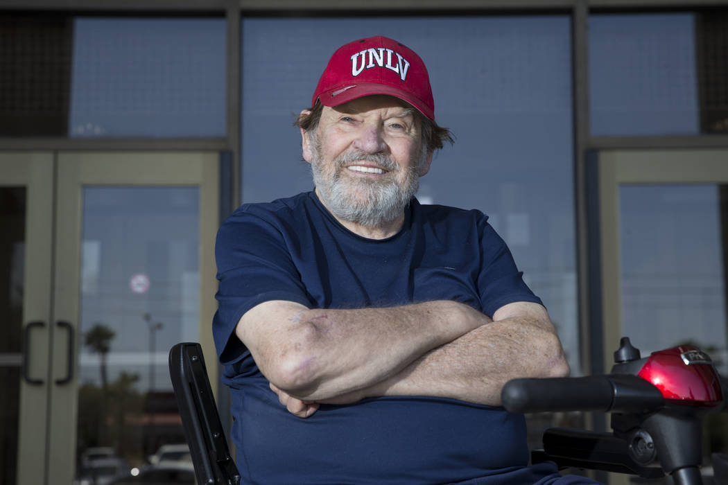 JJ Brennan, 85, who graduated with a bachelor's degree in film with a minor in theater at UNLV after skipping the commencement ceremony on Saturday, May 13, 2017 in Las Vegas. Erik Verduzco Las Ve ...
