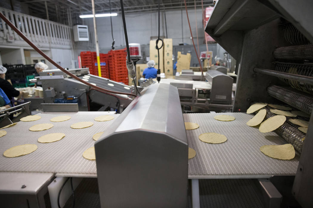 Tortillas make their way to the bagging area at the T.I. Foods warehouse on Tuesday, May 16, 2017, in North Las Vegas. Erik Verduzco Las Vegas Review-Journal @Erik_Verduzco