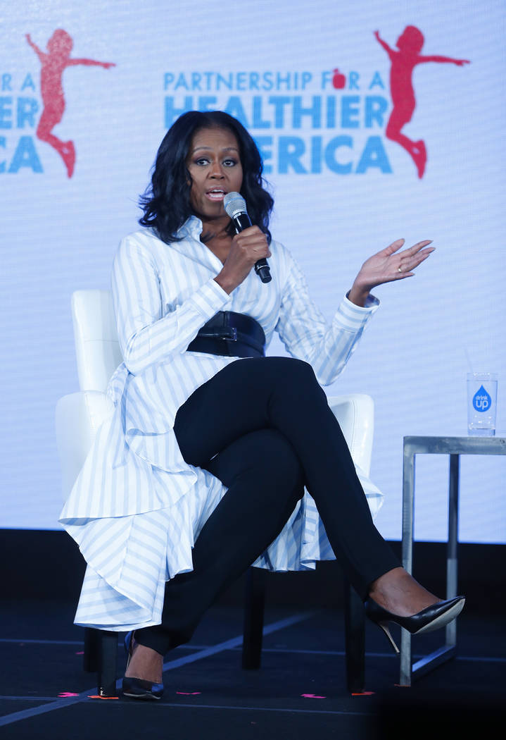 Former first lady Michelle Obama speaks at the Partnership for a Healthier American 2017 Healthier Future Summit in Washington, Friday, May 12, 2017. Obama appeared at an annual health conference  ...