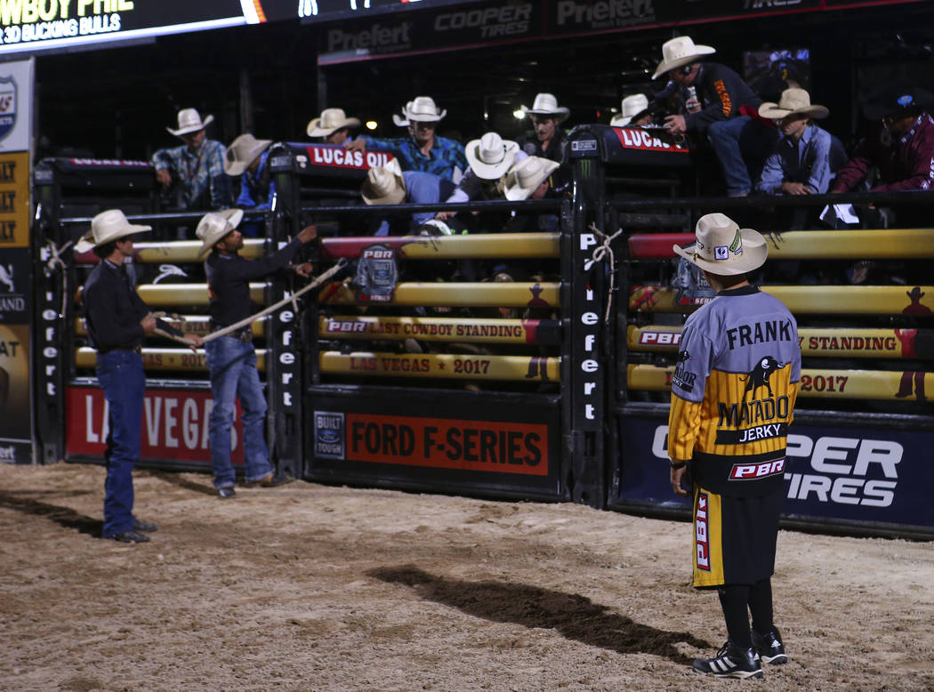 Professional Bull Riders bullfighter Frank Newsom waits for the next ride during the Last Cowboy Standing event at Las Vegas Village in Las Vegas on Friday, May 12, 2017. Chase Stevens Las Vegas R ...