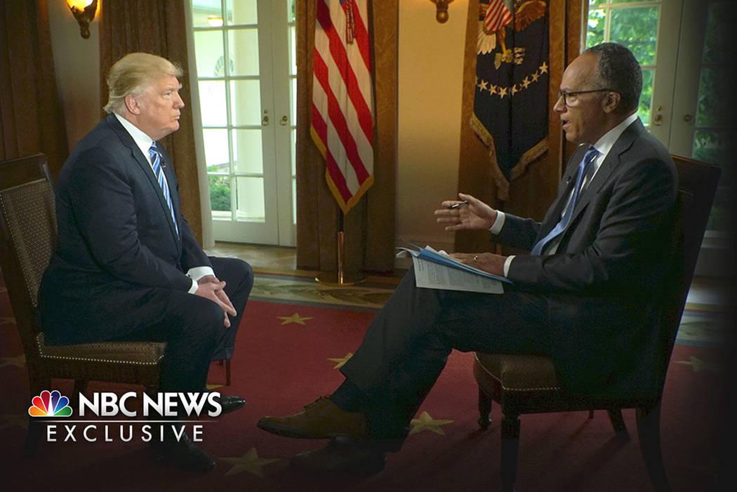President Donald Trump is interviewed by NBC's Lester Holt, Thursday, May 11, 2017. (Joe Gabriel/NBC News via AP)
