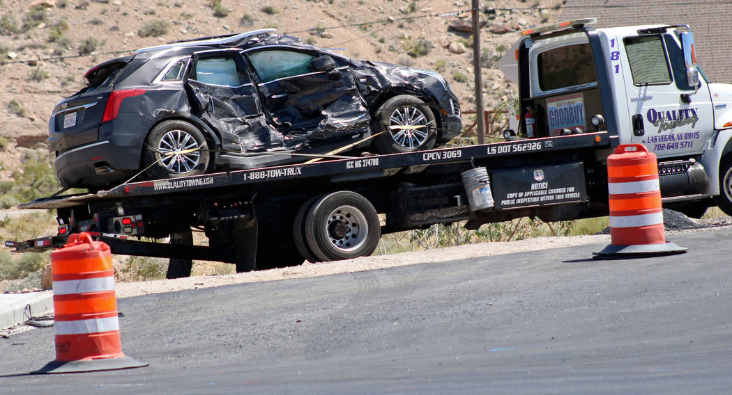 A gray Cadillac XT5 being towed away after a fatal crash near State Route 159 and State Route 160, Saturday, May 13, 2017. The passenger in the Cadillac died after the crash. Gabriella Benavidez L ...