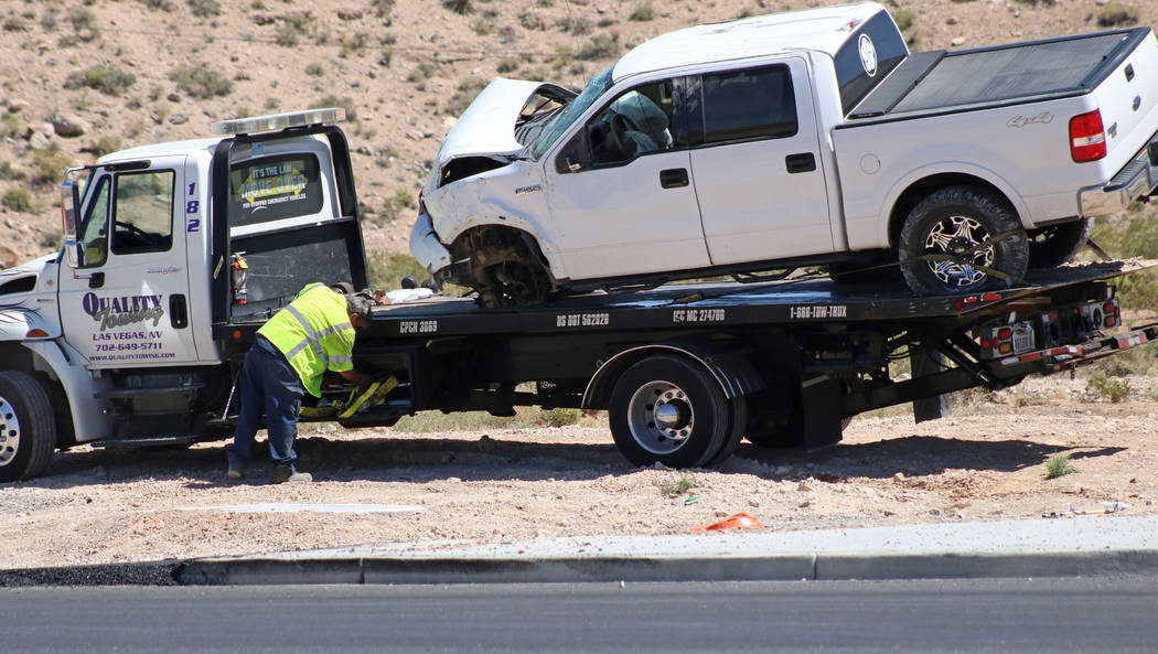A white Ford F-150 pickup truck being towed away after a fatal crash near State Route 159 and State Route 160, Saturday, May 13, 2017. Gabriella Benavidez Las Vegas Review-Journal @latina_ish