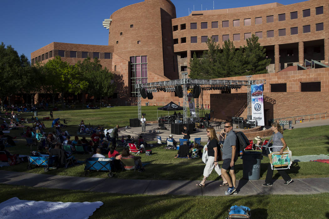 People attend the Jazz in the Park Concert Series at the Clark County Government Center Amphitheater on Saturday, May 13, 2017, in Las Vegas. Erik Verduzco/Las Vegas Review-Journal Follow @Erik_Ve ...