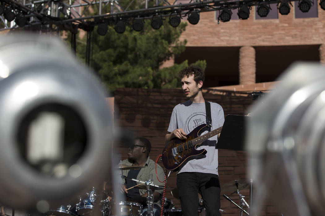 Guitarist Sean Carbone during sound check in the Jazz in the Park Concert Series at the Clark County Government Center Amphitheater on Saturday, May 13, 2017, in Las Vegas. Erik Verduzco/Las Vegas ...