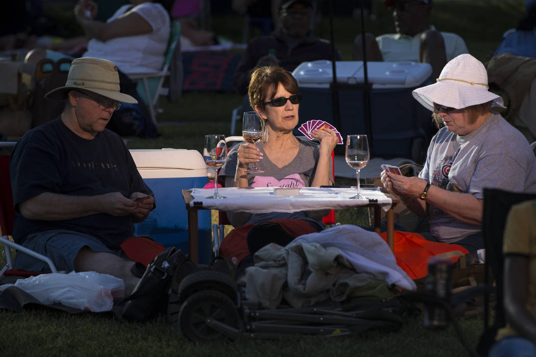 John Campbell, from left, with his wife Billie Drake and friend Ronda Alvarez during the Jazz in the Park Concert Series at the Clark County Government Center Amphitheater on Saturday, May 13, 201 ...