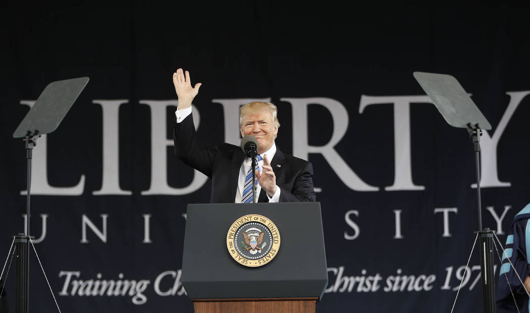 President Donald Trump gives the commencement address for the Class of 2017 at Liberty University in Lynchburg, Va., Saturday, May 13, 2017. (Pablo Martinez Monsivais/AP)