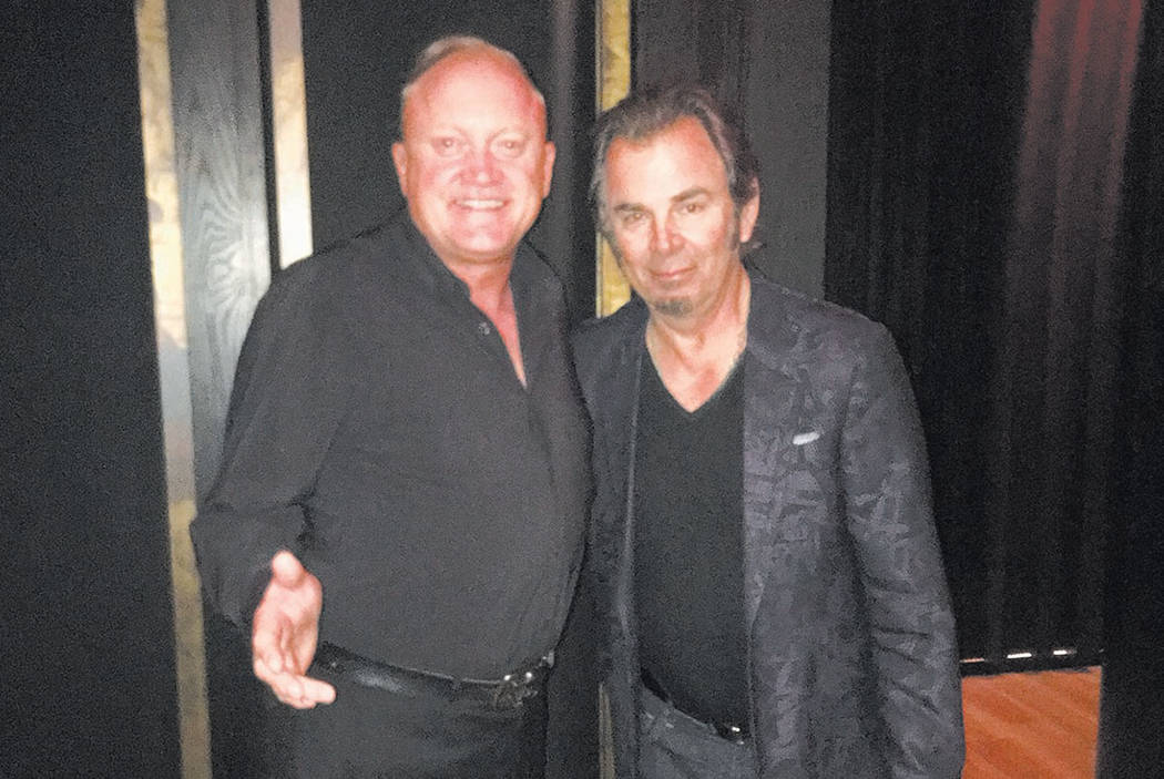 Jonathan Cain of Journey is shown with Johnny O'Donnell of MB Steak at the Hard Rock Hotel on Friday, May 12, 2017. (MB Steak)