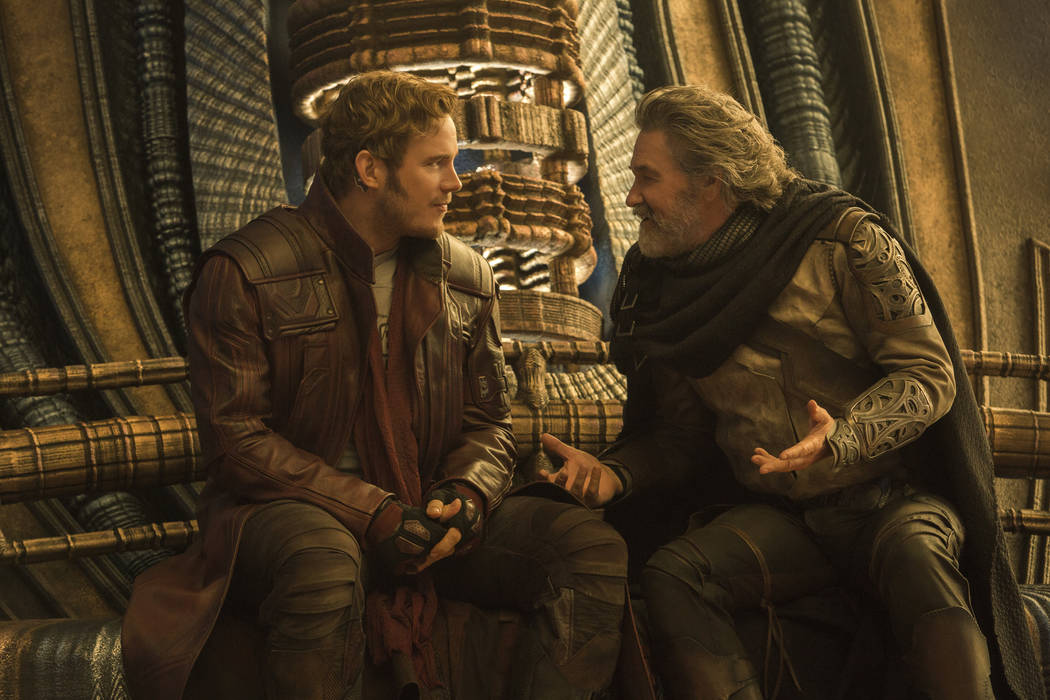"""Star-Lord/Peter Quill (Chris Pratt) and Ego (Kurt Russell) in """"Guardians of the Galaxy Vol. 2"""" (Chuck Zlotnick/Marvel Studios)"""