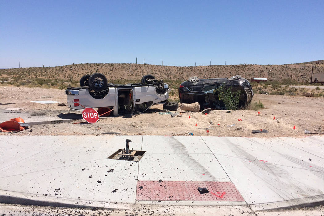 Two vehicles involved in rollover crash near State Route 159 and State Route 160. (Nevada Highway Patrol)