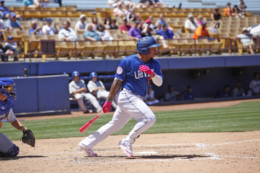 Las Vegas 51's infielder Dominic Smith bats on Sunday, May 14, 2017, during a game against Las Vegas at Cashman Field in Las Vegas. Rachel Aston Las Vegas Review-Journal @rookie__rae