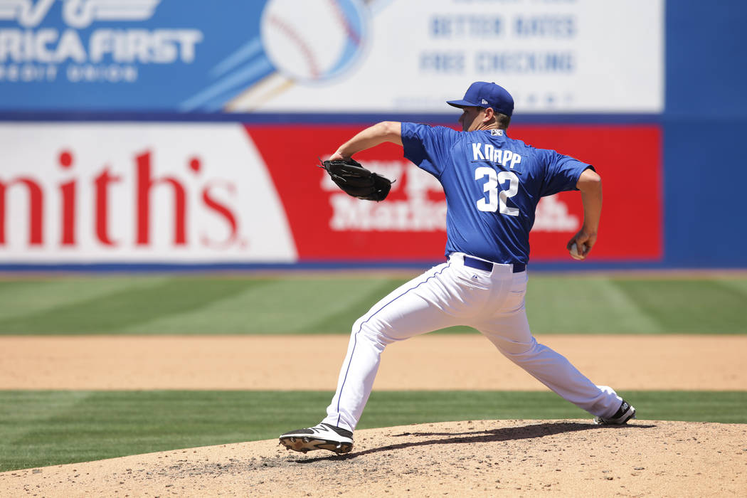 51's starting pitcher Ricky Knapp (32) winds to throw a pitch on Sunday, May 14, 2017, during a game against Omaha at Cashman Field in Las Vegas. Rachel Aston Las Vegas Review-Journal @rookie__rae