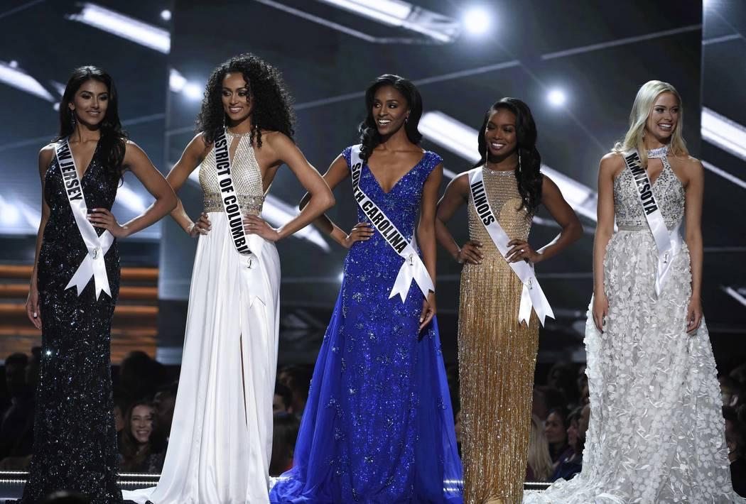 2017 Miss USA  – Las Vegas, Nevada, U.S., 14/05/2017 - The five finalists, Miss New Jersey Chhavi Verg, Miss District of Columbia Kara McCullough, Miss South Carolina Megan Gordon, Miss Ill ...