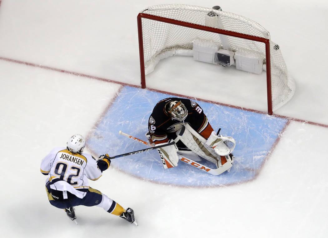 Nashville Predators center Ryan Johansen scores past Anaheim Ducks goalie John Gibson during the first period of Game 2 of the Western Conference final in the NHL hockey Stanley Cup playoffs, Sund ...