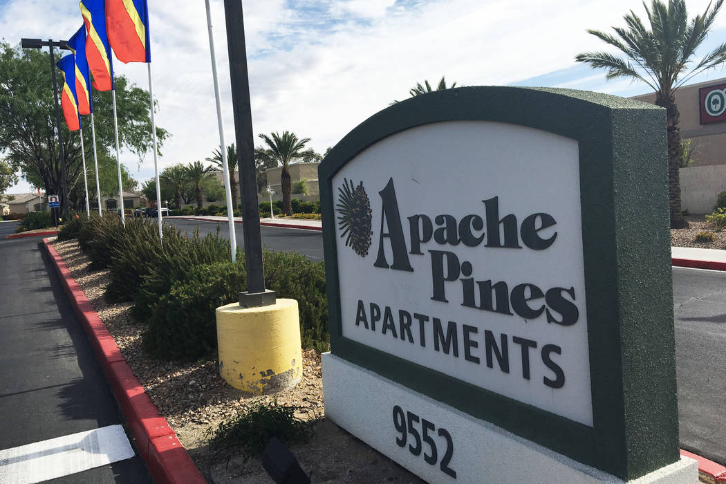 Apache Pines Apartments at 9552 W. Tropicana Ave., near South Fort Apache Road on Monday, May 15, 2017. (Bizuayehu Tesfaye/Las Vegas Review-Journal)