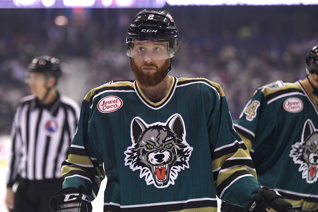 ROSEMONT, IL - MARCH 18: Chicago Wolves defender Kevin Tansey (2) looks on during an AHL hockey game between the Chicago Wolves and Grand Rapids Griffins on March 18, 2017, at the Allstate Arena i ...