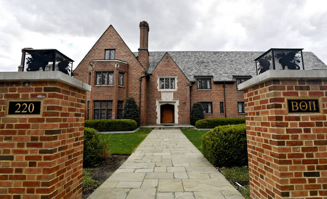 This April 4, 2017, file photo shows Penn State University's Beta Theta Pi fraternity house in State College, Pa. Helped by surveillance footage, prosecutors painted a harrowing picture of the eve ...