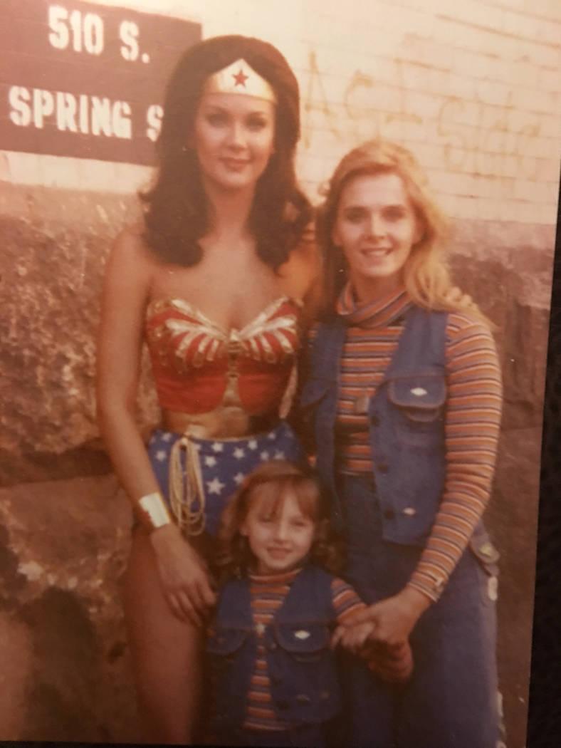 Kim Renee and her daughter, Vanessa, pose with TV Wonder Woman Lynda Carter in late 1978. Kim Renee