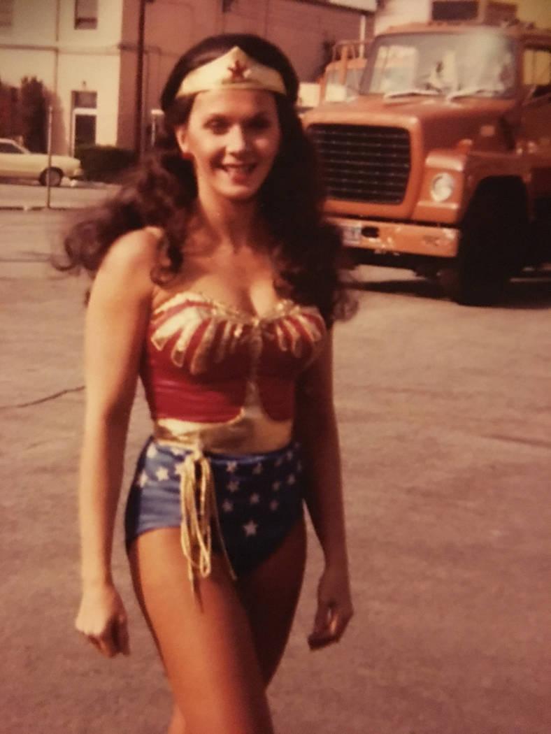 "Kim Renee during a season two ""Wonder Woman"" shoot. Kim Renee"
