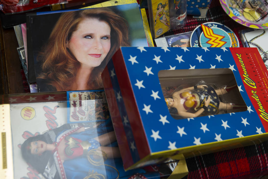 "A headshot of Kim Renee, who was a stunt double for Lynda Carter in ""Wonder Woman,"" along with memorabilia at her home in Las Vegas on Friday, May 26, 2017. Chase Stevens Las Veg ..."